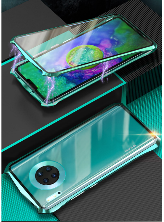 Street fashion tempered glass for Huawei P30lite P30 P30Pro Honor 10 ultra-thin magnetic metal shockproof drop protection shell