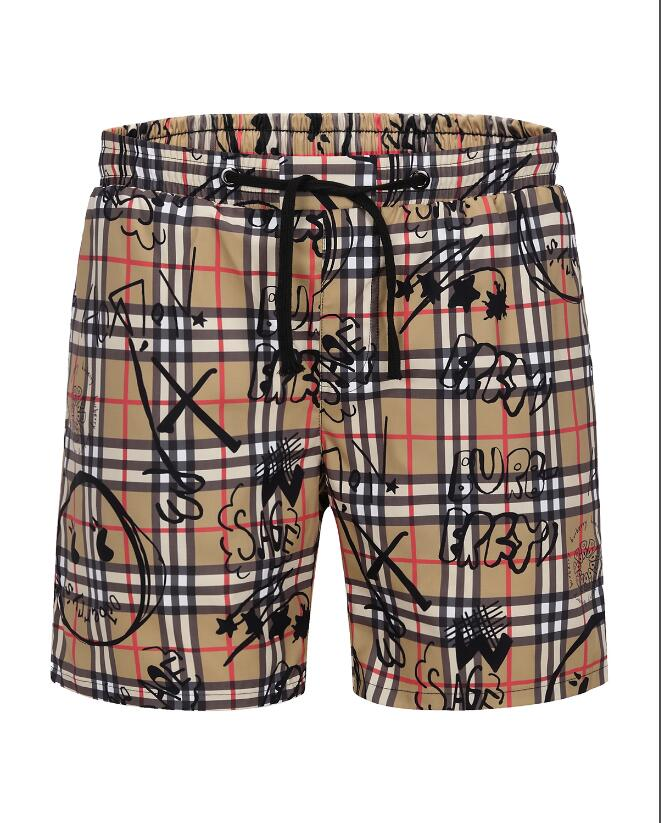 2019 summer Casual mens shorts pants Mid Drawstring Plaid Knee Length fashion streetwear men clothing 16