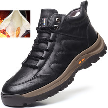 Warm Men Boots Working Outdoor Waterproof Winter Genuine-Leather Handmade Non-Slip Wool