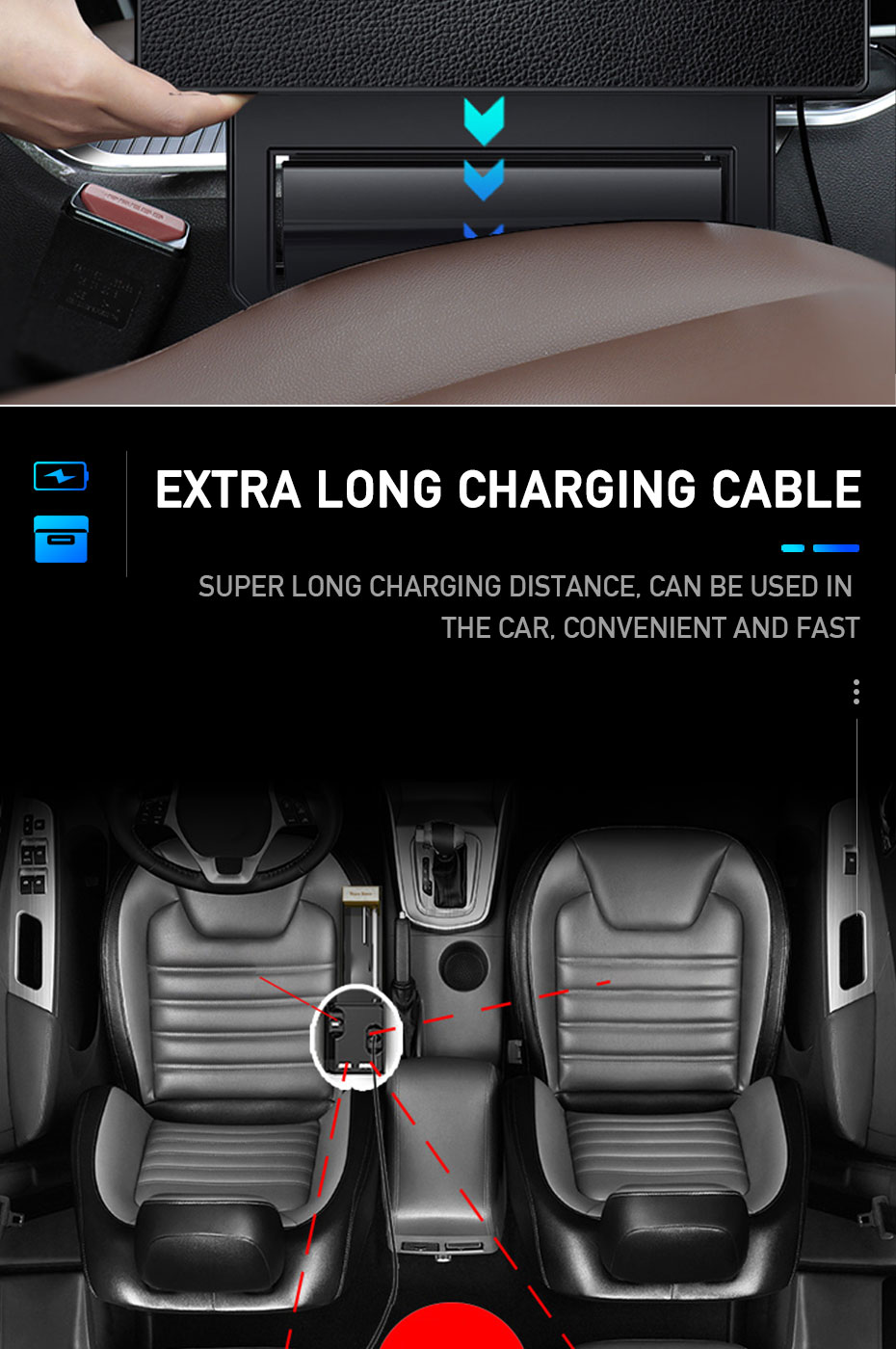 Car Seat Storage Box With Cable Car USB Charger
