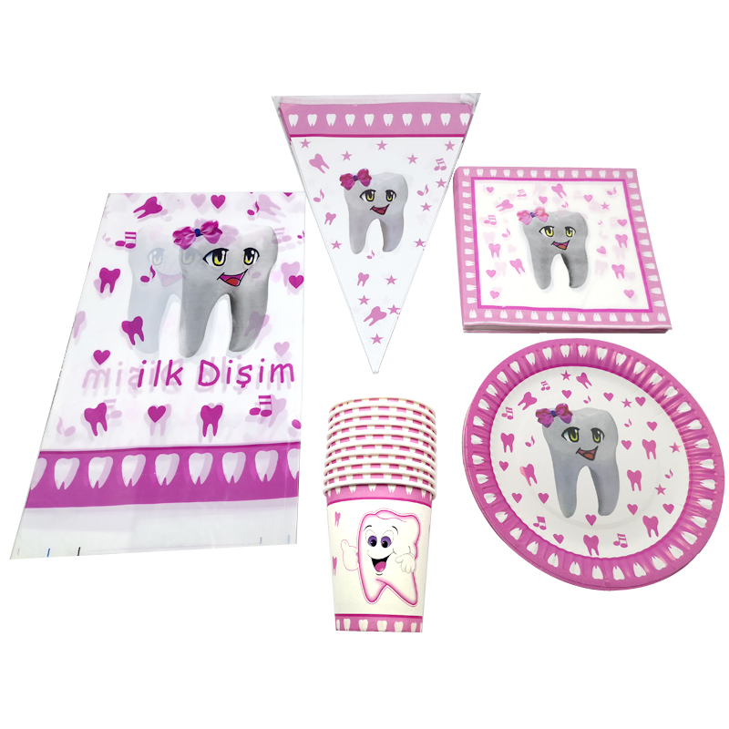 Plates Cups Napkins Decorations Tablecover Pink Girls Baby Shower Tableware