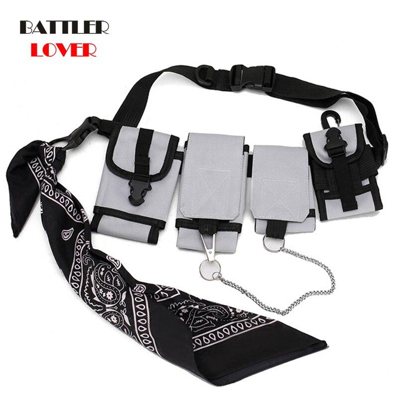 Men Chest Bag Tactical Waist Bag Multi-pocket Shoulder Bags Hip Hop Small Phone Pouch Street Boy Fashion Fanny Pack Flap Single