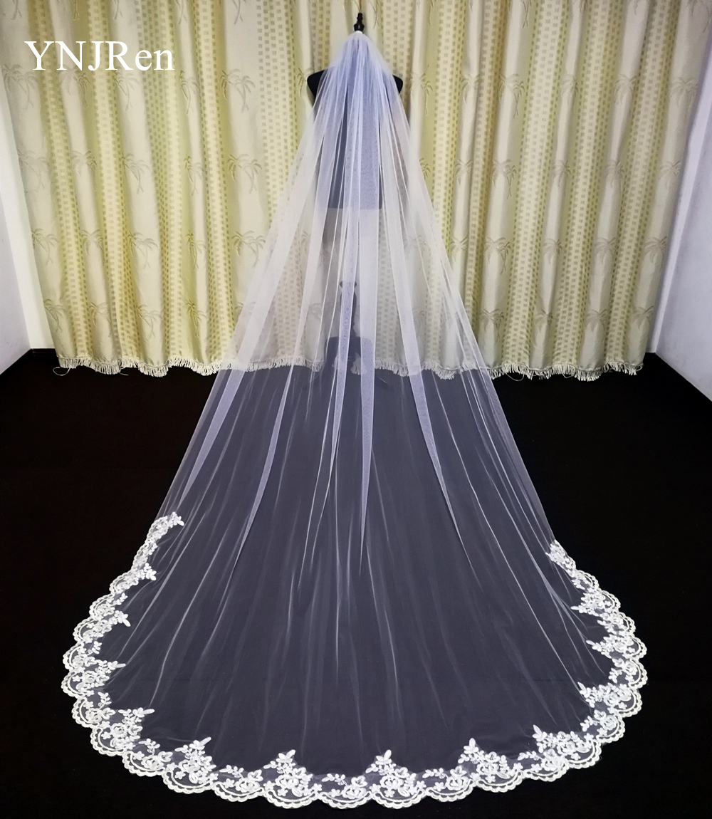 3 Meter Cathedral Wedding Veils Long Lace Edge Bridal Veil with Comb Wedding Accessories Bride Mantilla Wedding Veil