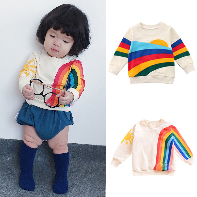 Girls Rainbow Printed Pullover Hoodies Casual T-Shirt Clothes Long Sleeve Sweatshirt Tops Children Pullover Clothes for Girls