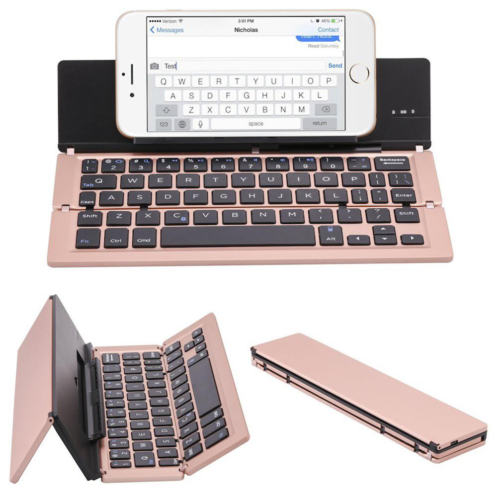 Keyboard Foldable Smart-Phones Most-Of-Tablets Blueteeth 1014 Small Compatible Aluminum title=