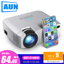 AUN Mini Projector Video-Beamer Support Sync-Display D40W Cinema.1600 Lumens iPhone/android-Phone