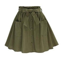 Женская винтажная юбка HziriP, с высокой талией и карманами, однотонная, с бантом на ремне, средней длины, летняя, европейская, Армейская, зелена...