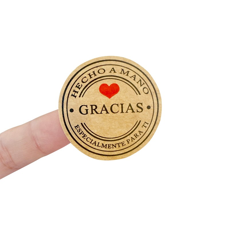100PCS/lot Kraft Gracias Spanish Thank You labels Stickers Handmade Package Envelope Seal Label Scrapbooking Stationery Sticker