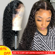 Wigs Human-Hair Deep-Part Water-Wave Lace-Front Glueless Preplucked Black Women Full-End