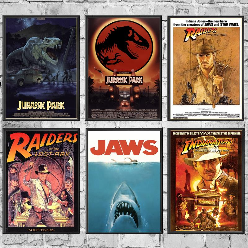 E.T. /JAWS/The Termina/Jurassic Park Spielberg Movie Posters Painting Coated Poster White Paper For Home Bar Wall Decor/Stickers