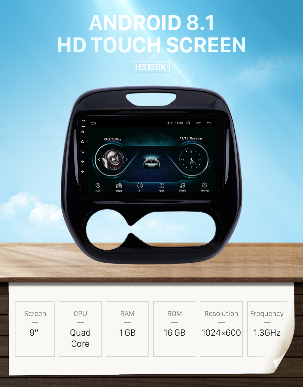 gaoweipeng 9Touch Screen Double DIN for Renault Captur Clio 2013 to 2015 Android 8.1 GPS Navigation Mirror Link Car Radio BT FM AM MP5 WiFi AUX SWC DAB