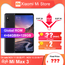 Xiaomi Max 3 6GB 128GB Max-3 64GB/6GB GSM/WCDMA/CDMA/LTE Quick Charge 3.0 Octa Core Fingerprint Recognition