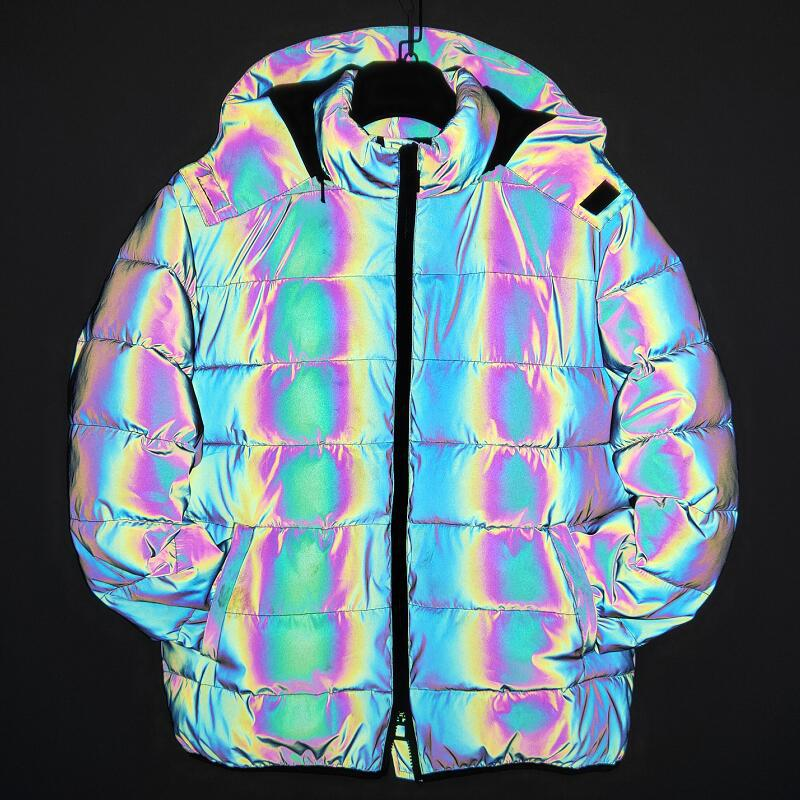 Colorful Reflective Down Coats Mens Fashion Winter Thick Pullover Night Reflection Coat Male Warm Zipper Outwear Hooded Clothing