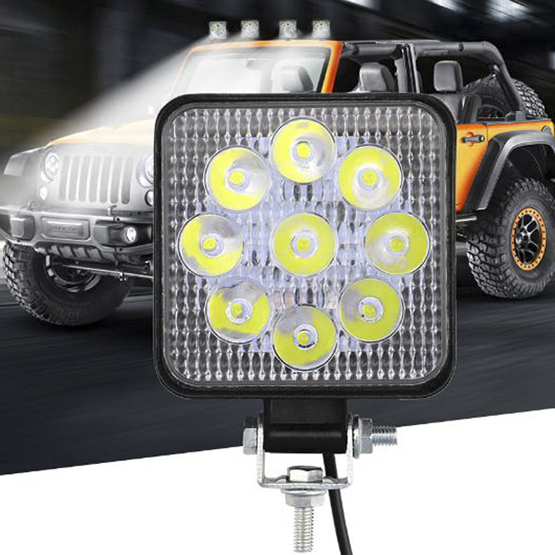 Fog-Light Tractor-Train Auto-Lamp Work 6000K Off-Road Square 12-24V 27W ATV 1pcs IP67 title=