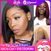 Wigs Human-Hair-Wigs Short Bob Alipearl-Hair Lace-Front Pre-Plucked 613 Black Women Brazilian Straight