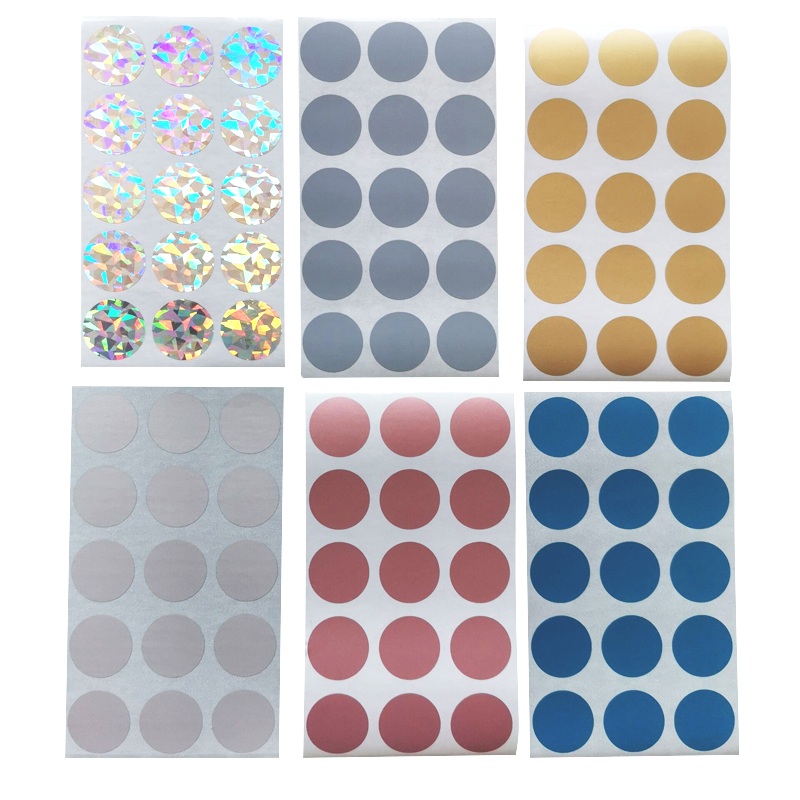 """100 Silver HOLOGRAM Scratch off 1/"""" SQUARE stickers label games favor promotional"""