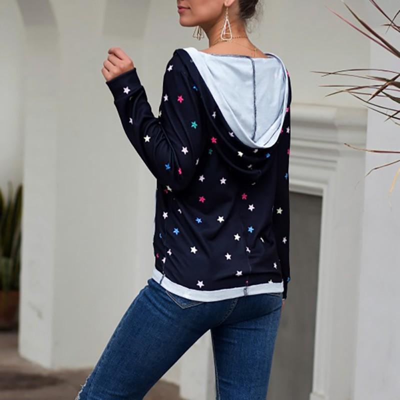 2019 Women Long Sleeve Hoodies Stars Print Shirt Sexy Deep V-Neck Print Pocket Pullover Tops Shirts