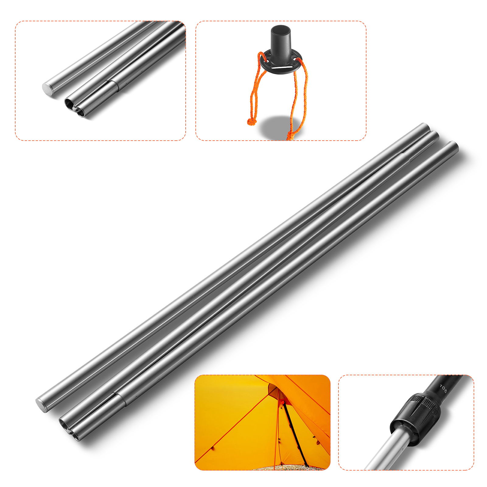 2Pack Camping Telescopic Adjustable Steel Tent//Awning Pole 180cm-220cm Tent Tarp