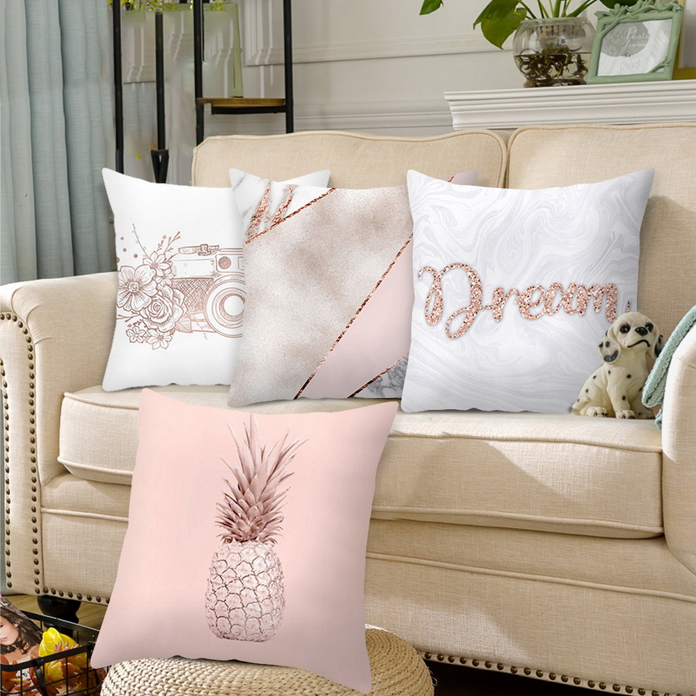 Pillow Case Pink Rose Gold Geometric Pineapple Glitter Cushion Cover Home Decor