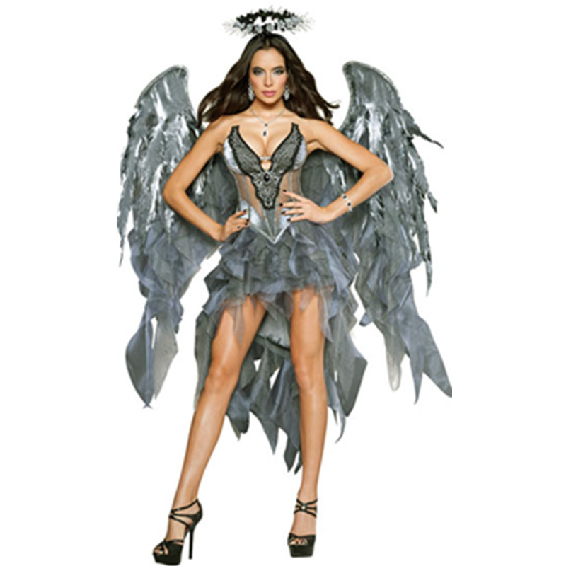 Dark Angel Costume Adult Halloween Carnival Party Gothic Witch Vampire cosplay Dress Wings