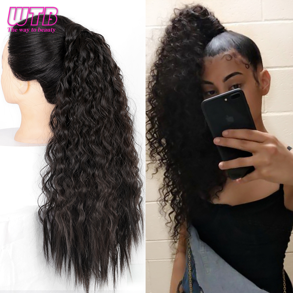 WTB Clip-Hairpieces Ponytail-Wrap Hair-Tail False-Hair Curly Long-Corn Brown Black Synthetic title=