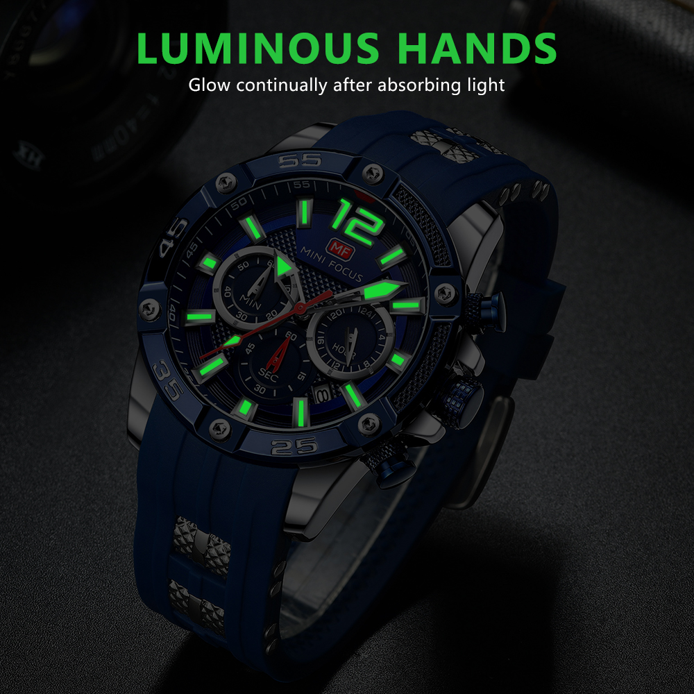 MINIFOCUS Watch Brand Luxury Analog Quartz Sport Men Watches Mens Silicone Waterproof Date Fashion WristWatch Relogio Masculino