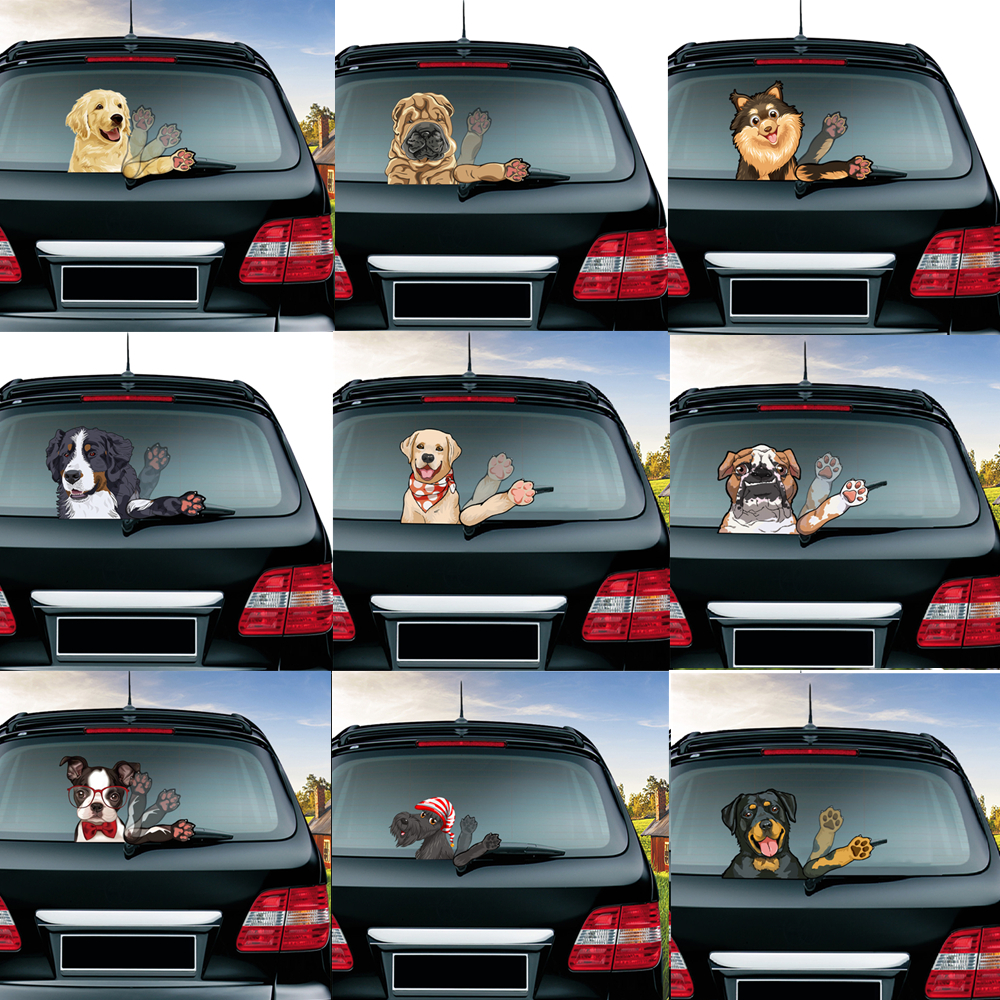 Wiper-Stickers Removable Windshield Car-Styling-Decoration Rottweiler Fierce PVC Waving title=