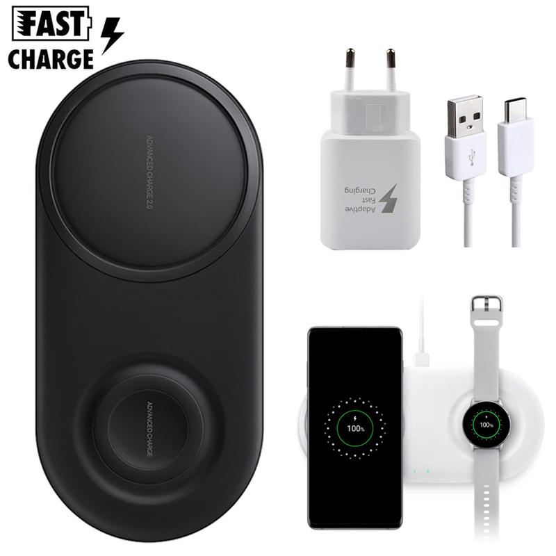 Dual Wireless Charger Duo Pad For Samsung Note 10 9 8 S10 S9 S8 Plus Oplader Fast Charge title=