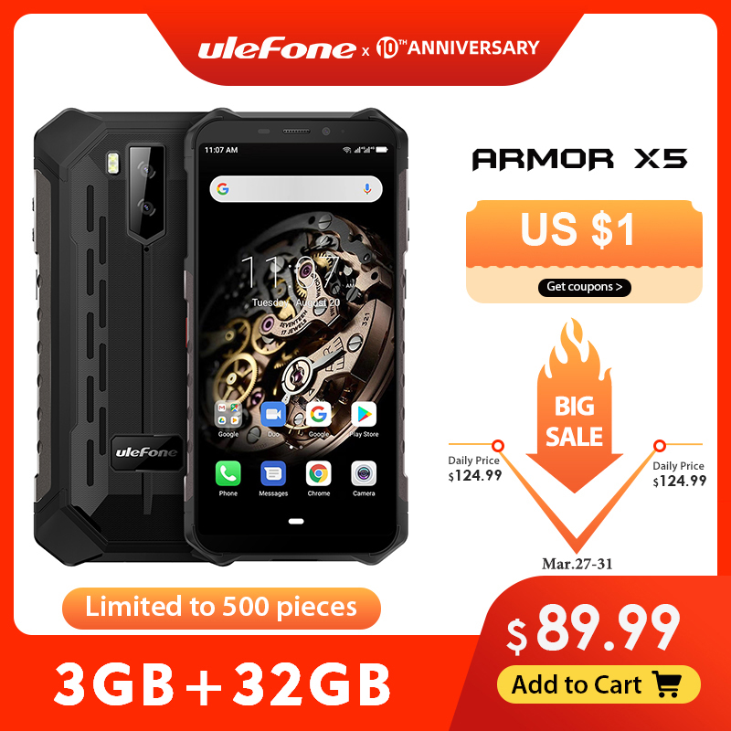 Ulefone Armor X5 MT6763 32GB 3GB GSM/LTE/WCDMA NFC Octa Core Face Recognition 13mp New title=
