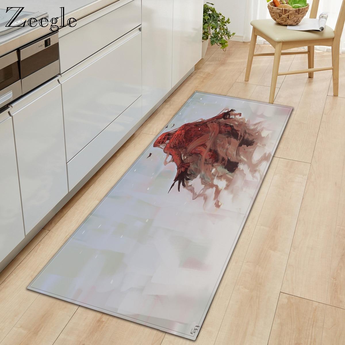 Zeegle Cartoon Carpet for Living Room Decoration Non-Slip Kitchen Rug Hallway Carpet Flannel Bathroom Doormat Bedside Carpet Mat