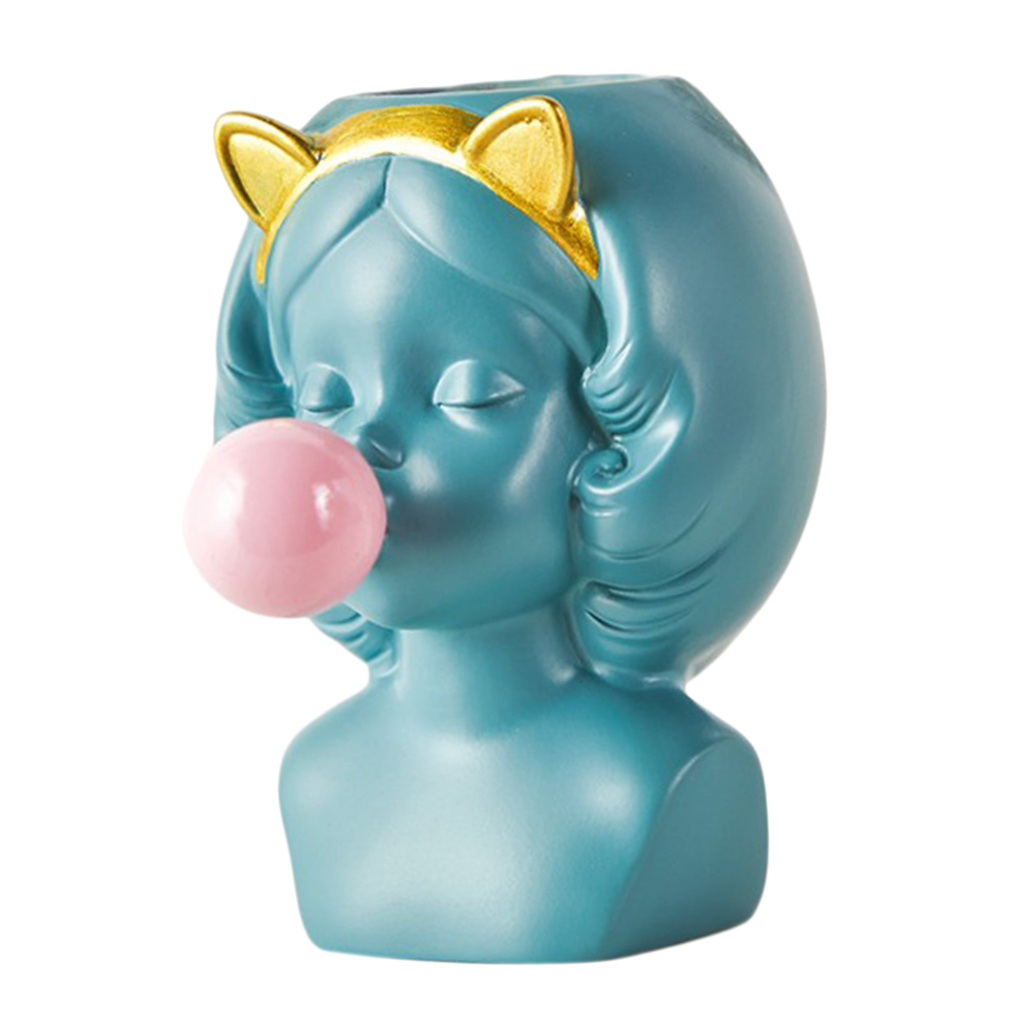 Cute Girl Blowing Bubbles Succulent Planters Vinyl Flower Pot for Home Tabletop Decor, Various Styles Available