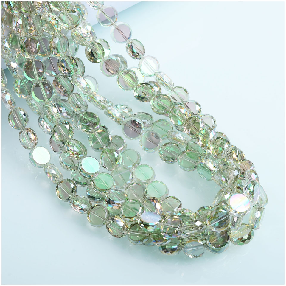 25pcs Shinning Crystal Beads 12mm Colorful Flat Round Beads For Making Findings