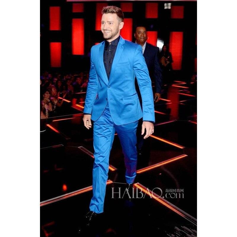 Custom Made New Arrival Groomsmenn Notch Lapel Groom Tuxedos Shiny Blue Mens Suits Wedding Best Man (Jacket+Pants)