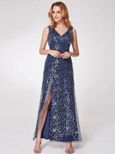 Prom-Dresses Ever Pretty Sequined Elegant V-Neck A-Line EP07287NB Sparkle Abendkleider