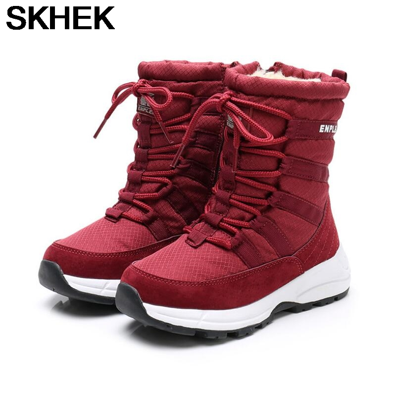 SKHEK Martin Boots Kids waterproof Winter Fur Ankle Boots For Boys Toddler Fashion Girls Snow Boots Children's Shoes