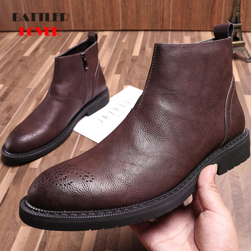 Black Brogue Chelsea Boots Mens Shoes Business Boots Men Footwear Genuine Leather Chelsea Boots For Men