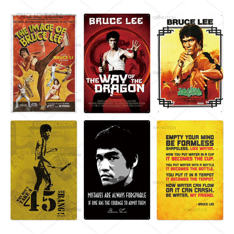 Bruce Lee Poster Metal Sign Wall Decor Plaque Tin License Plate USA Movie Fight