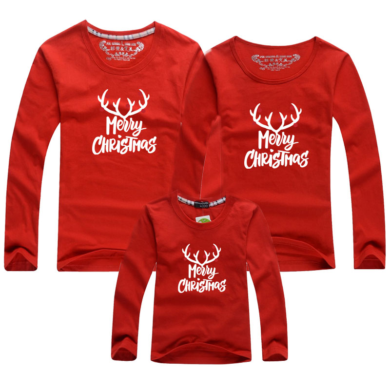 2020 New Christmas T-Shirt Long sleeve Cotton Adult Kids T-Shirt Mother And Daughter Clothes Family Matching Outfits Clothes