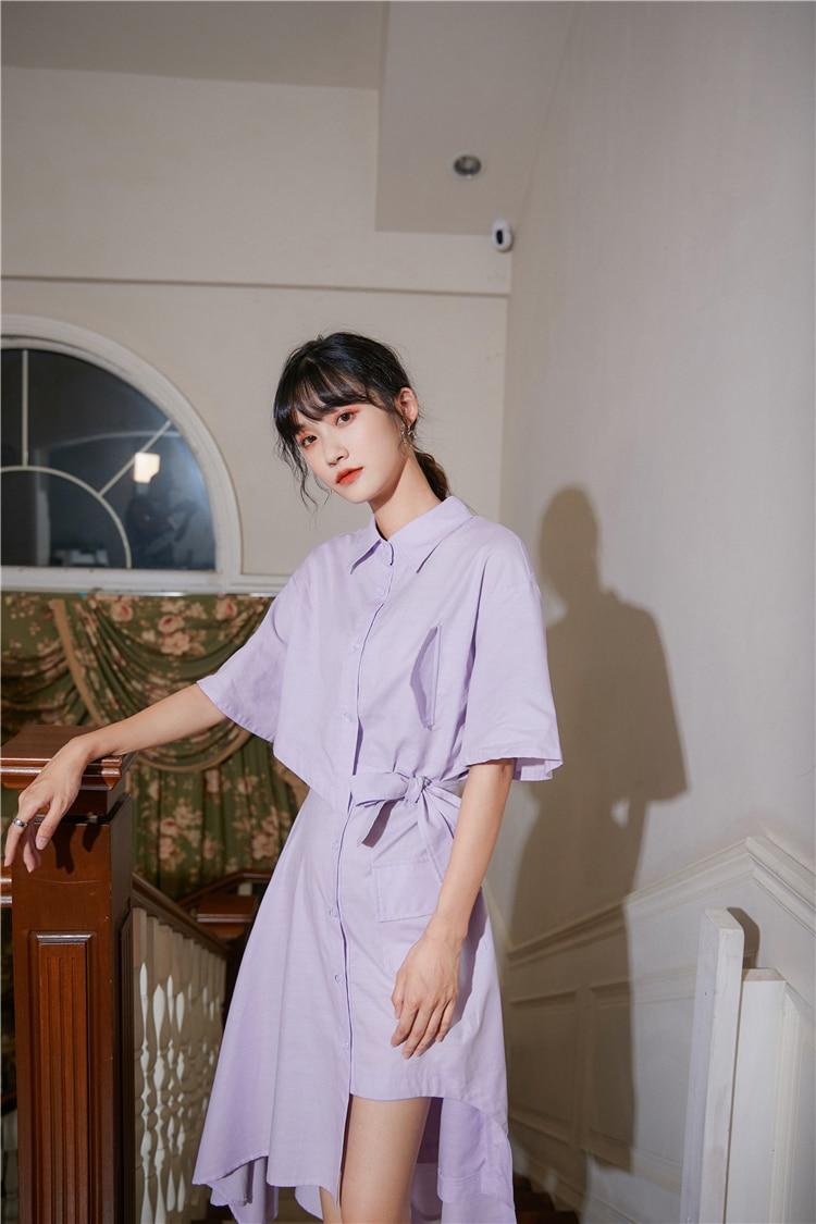 H354271aabb8e44b1a44359aadb46c324Y - Summer Korean Turn-Down Collar Short Sleeves Buttons Lace-Up Asymmetrical Long Shirt Dress