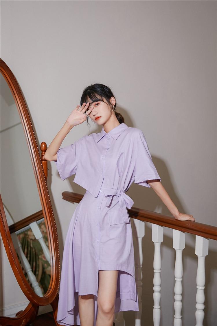 H3560f3d8a81e496c9e1ce5dabf17a84bY - Summer Korean Turn-Down Collar Short Sleeves Buttons Lace-Up Asymmetrical Long Shirt Dress