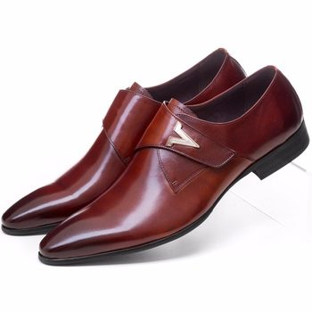 Fashion brown tan / black mens business shoes genuine leather wedding shoes mens dress shoes with buckle