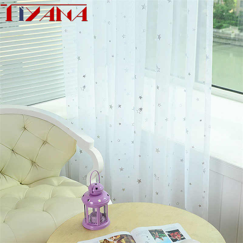Shine Star Kids White Curtain Tulle For Living Room Kitchen Blue Pink Yarn Curtains For Bedroom Child Green Cortina WP234&20