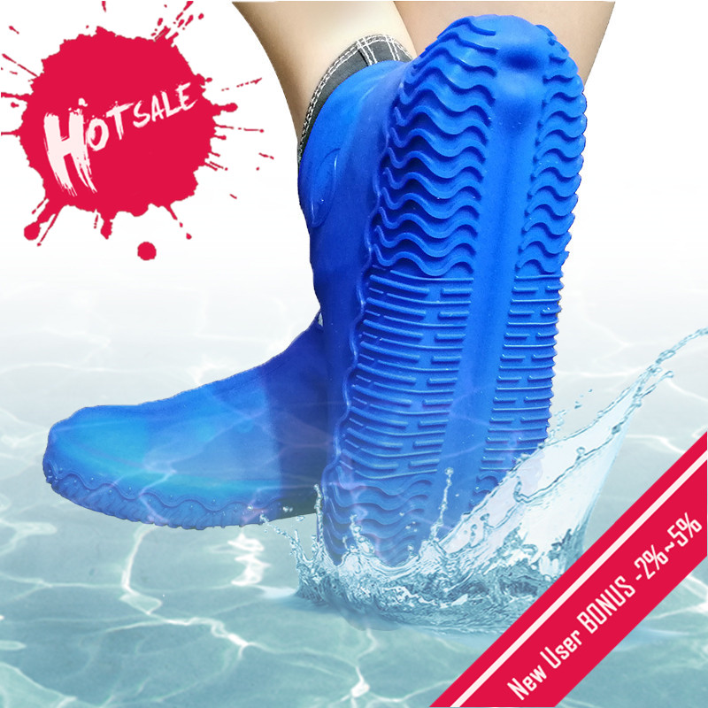 Shoe-Cover Rubber Rain Slip-Resistant Outdoor Silicone Waterproof Reusable Camping 1-Pair title=