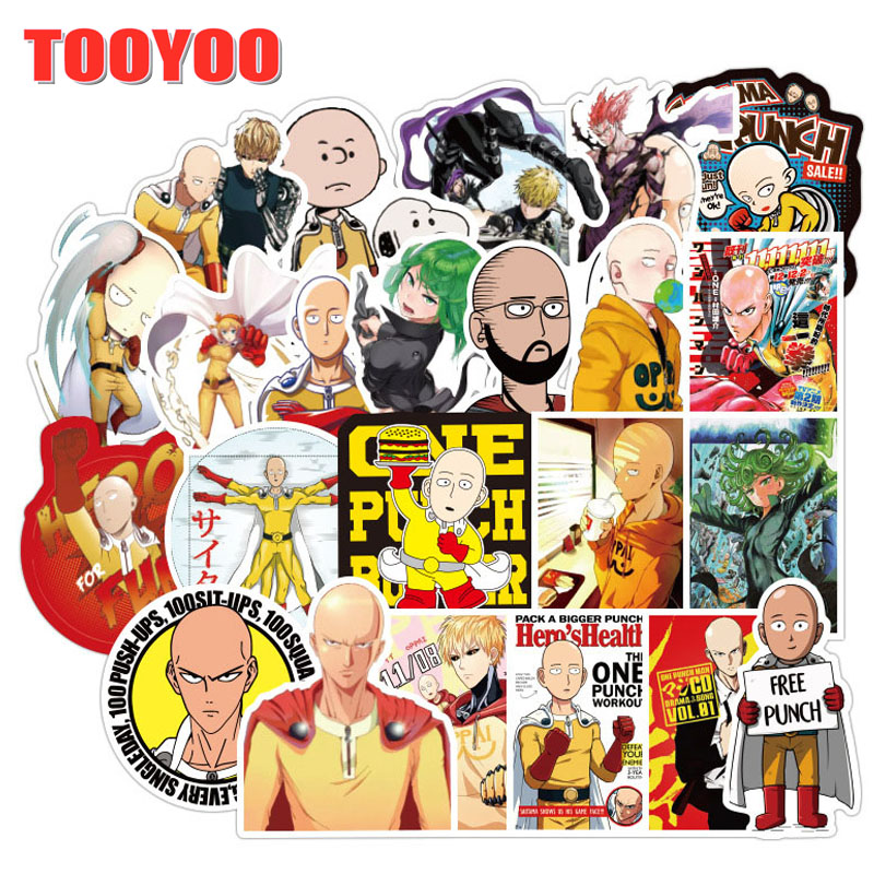 70Pcs/set Cartoon Anime ONE PUNCH-MAN Stickers For DIY TOY Skateboard Snowboard Laptop Luggage Bicycle Car Suitcase Stickers