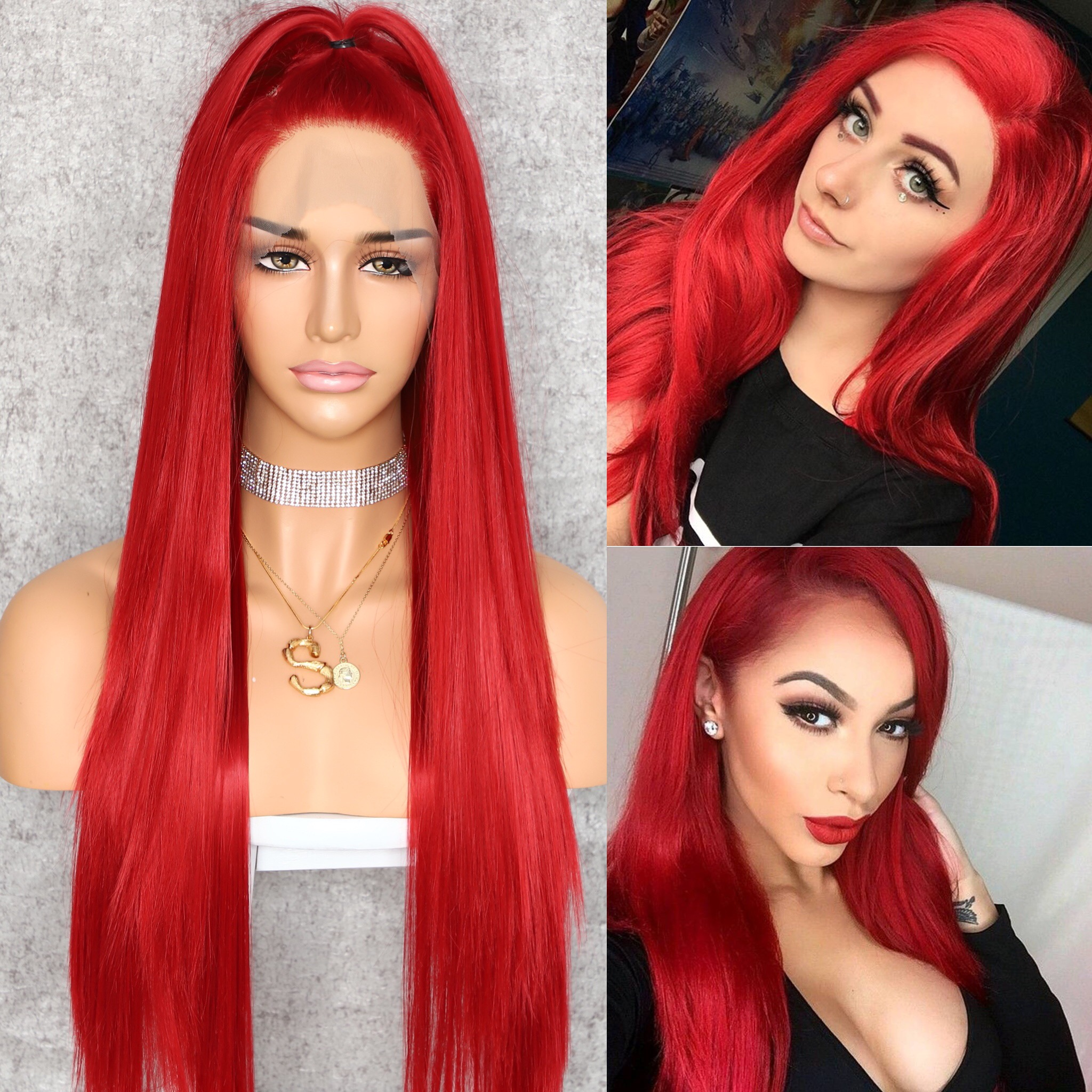 Beautytown Wig Celebrity Lace-Front Cosplay Orange Heat-Resistant Wedding-Party Girl title=