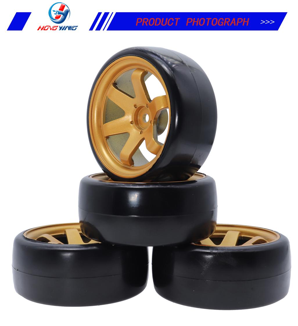 4Pcs Wheel Rim Hard Plastic Drift Tires for 1//10 RC On Road Car Tamiya HSP }