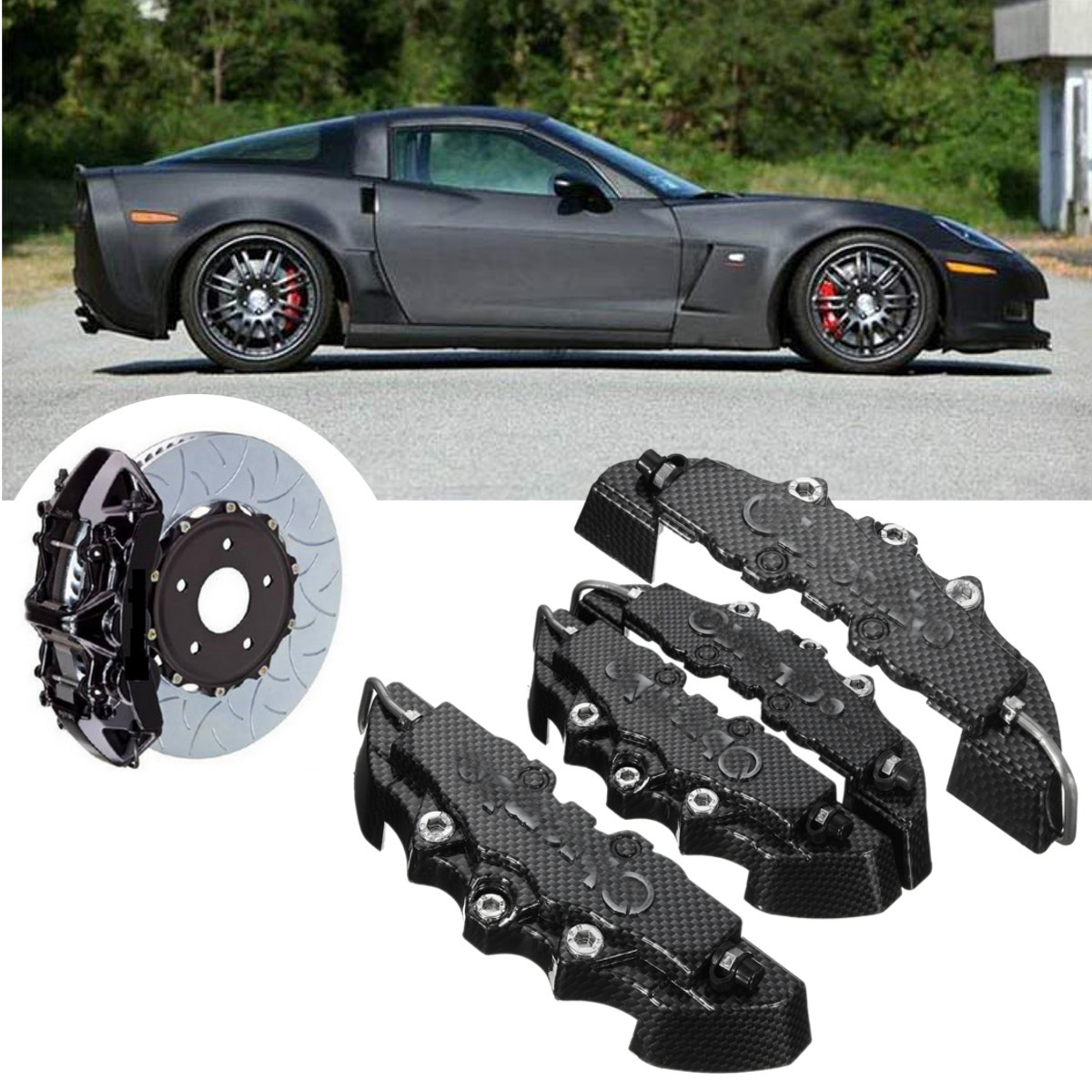 Caliper-Cover Disc-Brake Universal Rear-Pattern ABS Front 4pcs with 3D Carbon-Fiber Look-M title=