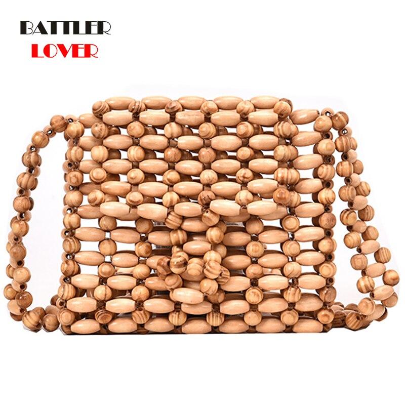 Womens Bead Wood Bag High Quality Designer Wood Fashion Crossbody Shoulder Bag Women Summer 2019 Beach Flap Ladies Messenger bag
