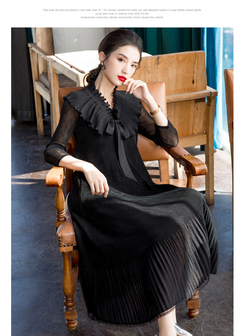 HOT SELLING Miyake fold  dress of solid three quarter mesh v-neck Pleated dress IN STOCK