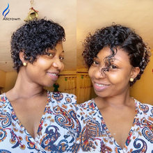 Alicrown Pixie Cut Wigs Brazilian Curly Lace Front Human Hair Wigs 180% Density Pixie Wigs Non-Remy Middle Ration(Китай)